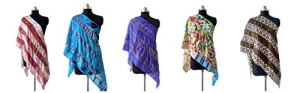 Rajbhoomi Lot de 5 écharpes vintage en soie pour femme Motif patchwork 48,3 x 177,8 cm