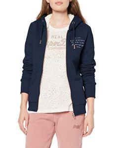 Superdry Applique Ziphood Sweat-Shirt À Capuche, Bleu (Navy 11S), X-Small Femme