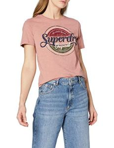 Superdry Original Gasoline Entry Tee T-Shirt, Rose (Smoke Rose Slub 1sz), 40 (Taille Fabricant: 10) Femme