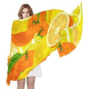 Swere Écharpe pour femme – Longue et douce – Élégante – Accessoires pour femme – Foulard tendance – Cadeau de fête – Aquarelle – Citrons, oranges – 70 x 35 cm