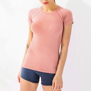 Tianya Summer New Ladies Solid Color T-Shirt à Séchage Rapide à Manches Courtes Sports Tight Sexy Fitness Yoga Top(Rose,M)