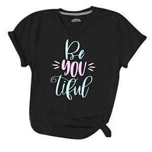 Tianya Summer T-Shirt de Base pour Femmes Col Rond Lettre Imprimer T-Shirt à Manches Courtes Blouse(Noir,S)