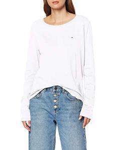 Tommy Jeans Femme Soft Jersey Longsleeve Pull de sport Blanc (Classic White 100) XX-Small