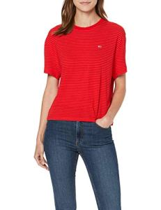 Tommy Jeans Femme Textured Handfeel Tee Pull de sport Rouge (Flame Scarlet 667) X-Large