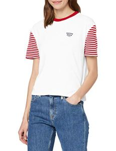 Tommy Jeans Tjw Striped Sleeve Tee Pull De Sport, Rouge (Deep Rouge Crimson/White Xnl), 32 (Taille Fabricant: XX-Small) Femme