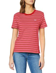 Tommy Jeans Tjw Tommy Classics Stripe Tee Pull De Sport, Rose (Pink Daisy/Multi 0ef), 40 (Taille Fabricant: Large) Femme