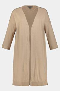 Ulla Popken Femme Grandes Tailles Cardigan Long, Coton Bio, Coupe Ouverte Beige 52/54 747200 22-50+