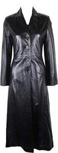 UNICORN Femmes plein longueur de Trench Coat de Réel en cuir Veste Noir #BA Taille 40