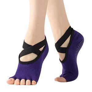 Vertvie Femme Chaussettes Yoga Antidérapantes en Coton avec Particules Anti-Glisse Socke Socquettes Respirant Sangle Extra-élastique pour Yoga Pilates Ballet Danse Barre Sport