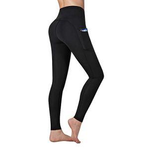 Vimbloom Leggings de Sport Femmes Pantalon de Yoga avec Poches Yoga Fitness Gym Taille Haute Leggings VI263 (Noir, S)