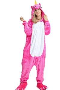 VineCrown Adulte Licorne Pyjama Déguisement Combinaison Costume Grenouillère Nouveauté à Capuche Animal Pyjamas Nuit Vêtements Halloween Carnaval Noël (L for 168CM-177CM, Rose)