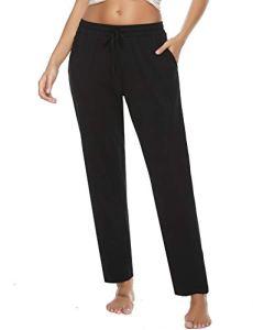 Vlazom Pantalon de Pyjama Femme Long Coton Pantalon de Nuit,Doux et Confortable Bas de Pyjama avec Poches – Style B-noir – S