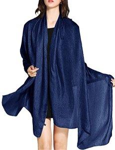 Wedtrend Foulard Châle Echarpe Femme Mariage en Lin Polyester Brillante Cache Bikini Maillot de Bain Plage Cover up, Bleu Marine, L: 190 cm x 100 cm