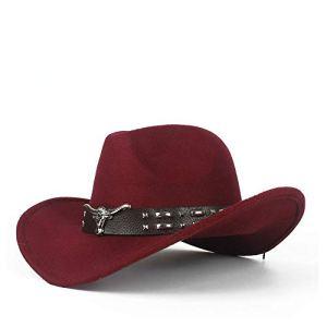 Yhuisen Chapeau de Mode, Chapeau de Cowboy à la Mode en Feutre de Laine Western Cow Head décontractée (Couleur : Crimson, Size : 56-58cm)