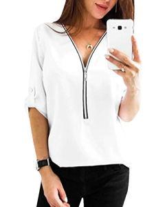 YOINS Chemisier Femmes Tunique Haut Demi Manches Tops Blouse Chemisier Femme Chic Chemise Fermeture Éclair T-Shirt Col V Blanc XS