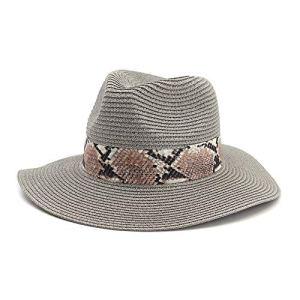YUQINN Mode Chapeau de Soleil Paille Panama for Femme d'été Fedora Beach Vacation Large Brim Visor (Couleur : Gris, Taille : 56-58CM)