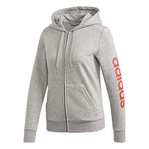 adidas W E Lin FZ HD Sweat-Shirt Femme, Medium Grey Heather/Core Pink, FR : S (Taille Fabricant : S)