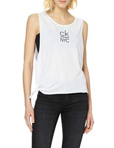 Calvin Klein Side Knotted Tank Haut De Pyjama, Blanc (PVH Classic White YCD), X-Small Femme