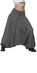 Coline – Sarouel népalais Coton rayé – Couleur : Noir 26 – Taille Unique