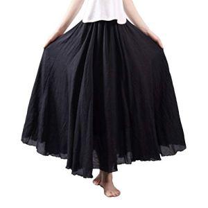Cossll498 Jupe longue en coton et lin Motif plage d'été Noir 95 cm