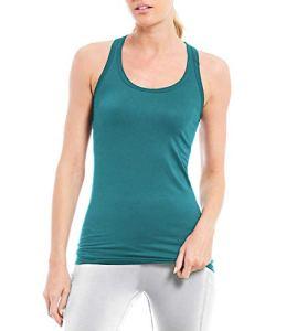 Femme Débardeur Basique Tops de Sport Gilet T-Shirts sans Manches Tank Tops Fitness Élastique pour Yoga Pilate Course Turquoise S