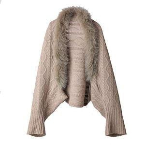 GSC-clothing Châles d'hiver Manteau en Molleton pour Femmes en Molleton, Manteau en Molleton Ouvert Devant Cardigans