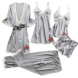 Kaist Femmes 5Pc Pyjamas Costume Sexy Dentelle Lingerie VêTements De Nuit sous-VêTements Babydoll VêTements De Nuit Robe Ensemble Sexy Pyjama Femmes