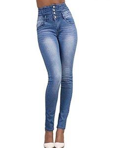 LAEMILIA Pantalons Femme Denim Printemps Jeans Slim Taille Haute Leggings Sexy Collant Crayon Déchirés (FR40=Tag L, Bleu Clair)
