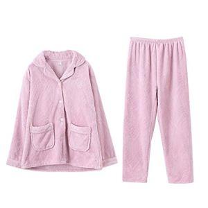 Lpinvin CL Pyjama Femme Femmes boutonné Notte Doux Lounge Vous Peignoir Rose de Nuit Loungewear Pyjama Femme (Couleur : Rose, Taille : L)