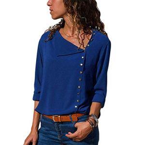 Mode Mousseline de soie Chemisier 2020 Manches Longues Femmes Blouses et Tops Skew Col Solide Chemise de Bureau Casual Tops – Bleu – XL
