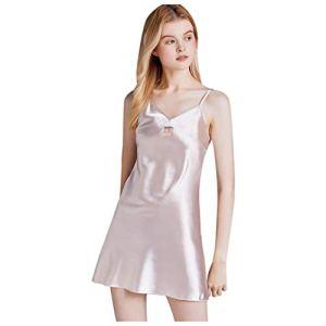 Sky Rabbit Lingerie Sexy Femme,Simulation Chemise de Nuit en Soie Bretelle Sexy col en V Service à Domicile Pyjama Confortable (Rose, XL)