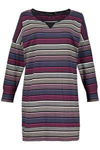 Ulla Popken Femme Grandes Tailles Haut de Pyjama, Oversize, Manches Longues Multicolore 44/46 726081 90-42+