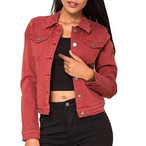 Veste en Jean pour Femmes Courte Basic Jacket Gilet en Denim, Taille:38 / M, Couleurs:Rouge Brique