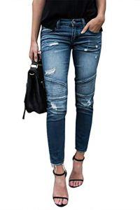 Yidarton Femme Jeans Déchiré Push Up Skinny Slim Fit Stretch Boyfriend Denim Jean Troué Pantalons Jeggings Pants Casual Rétro (Bleu Clair, Large)