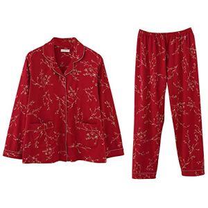 Zavddy-Clothing Pyjama Dames Bouton Femmes Bas Notte Longue Nuit Classique Loungewear Pyjama Mince Confortable Cadeau Parfait pour Les Femmes (Couleur : Rouge, Taille : L)