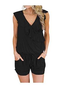 CuteRose Women's Plus Size V-Neck Cozy Sleeveless Plain Playsuit Shorts Rompers Black L