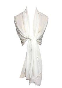 Etole écharpe femme en mousseline polyester (200cm x 70cm, Blanc)