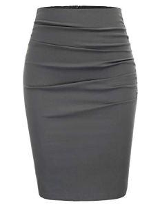 GRACE KARIN Jupe Crayon Taille Haute Midi Jupe Moulante Elastique au Genou Package Hanche pour Femme Gris foncé S CL866-2