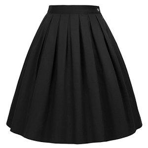 GRACE KARIN Jupe Plissee Mi Longue Taille Haute Basique Vintage Jupe Ete évasée Court Chic Casual Bureau Partie S CL6294-28