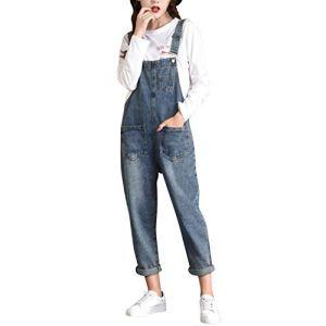 LAEMILIA Salopette Femme en Jeans Combinaison Grande Taille Bodysuit Pantalon Denim Casual (EU 48, style36)