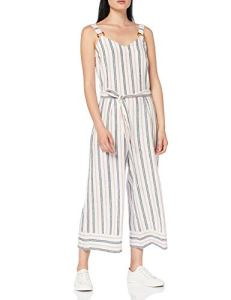 Marque Amazon – find. Combinaison d'Été en Lin Femme, Multicolore (RED/ BLUE STRIPE), 38, Label: S