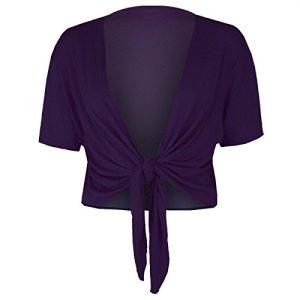 mix_lot Dames Trendy TIE UP Cap Manches Femme Shrug Bolero Top Girls Wrap Gilet Taille 36-42 (XL 16-18, Pourpre)