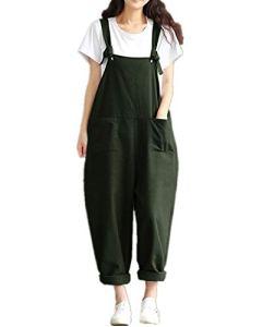 Style Dome Femme Combinaisons de Playsuit Coton Été Pantalon Irréguliers Sarouel Salopette Jumpsuit Casual Large Grande Taille Vert 2 EU 46
