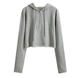 U/A Combinaison courte demi-zip à capuche pour femme ample et mince – Gris – M