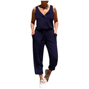 WINJIN Combinaison Longue Femme Ete Barboteuse Chic Mode Jumpsuit Casual Salopettes Casual Playsuit sans Manches Fronde avec Poches