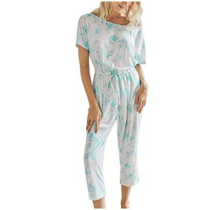WINJIN Combinaison Longue Femme Ete Barboteuse Chic Trousers Mode Jumpsuit Casual Salopettes Imprimé Tie-Dye Playsuit Manches Courte