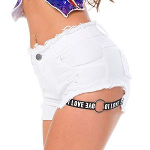 AMRT Jean Ultra Court Sexy Summer Night Show Nightclub Femmes Taille Haute en Denim Shorts Lettres Jeans Trous sont Minces (Color : White, Size : L)