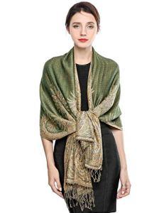 EASE LEAP Écharpe Pashmina pour Femme Châle Paisley Hijab de couleur chaude avec empiècements soyeux et sensation de luxe dans les couleurs vives avec des franges200*70cm/(Olive verte)
