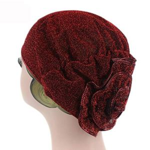 Femmes Fleur Exquis Polyester Musulman Turban plissés Head Wrap écharpe Bandana Hat Pré Tied Couvre-Chef Cancer Chemo Cap WJ-37 j0717 (Color : 2, Size : One Size)