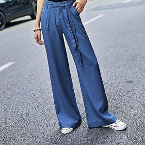Femmes Jeans Taille Haute Tencel Femme Jambe Large Pantalon Jeans Denim Blue Jeans délavé (Color : Blue, Size : XL)